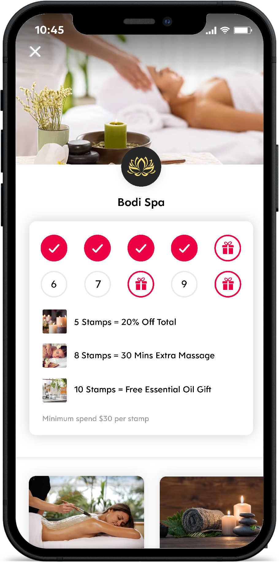 Screenshot of Flex Rewards Digital Loyalty Card for Bodi Spa on White Background