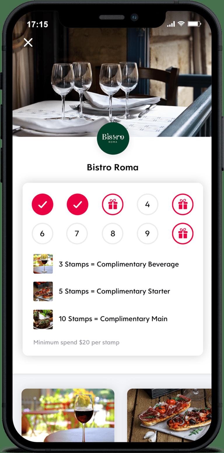 iphone screenshot of flex rewards digital loyalty stamp card