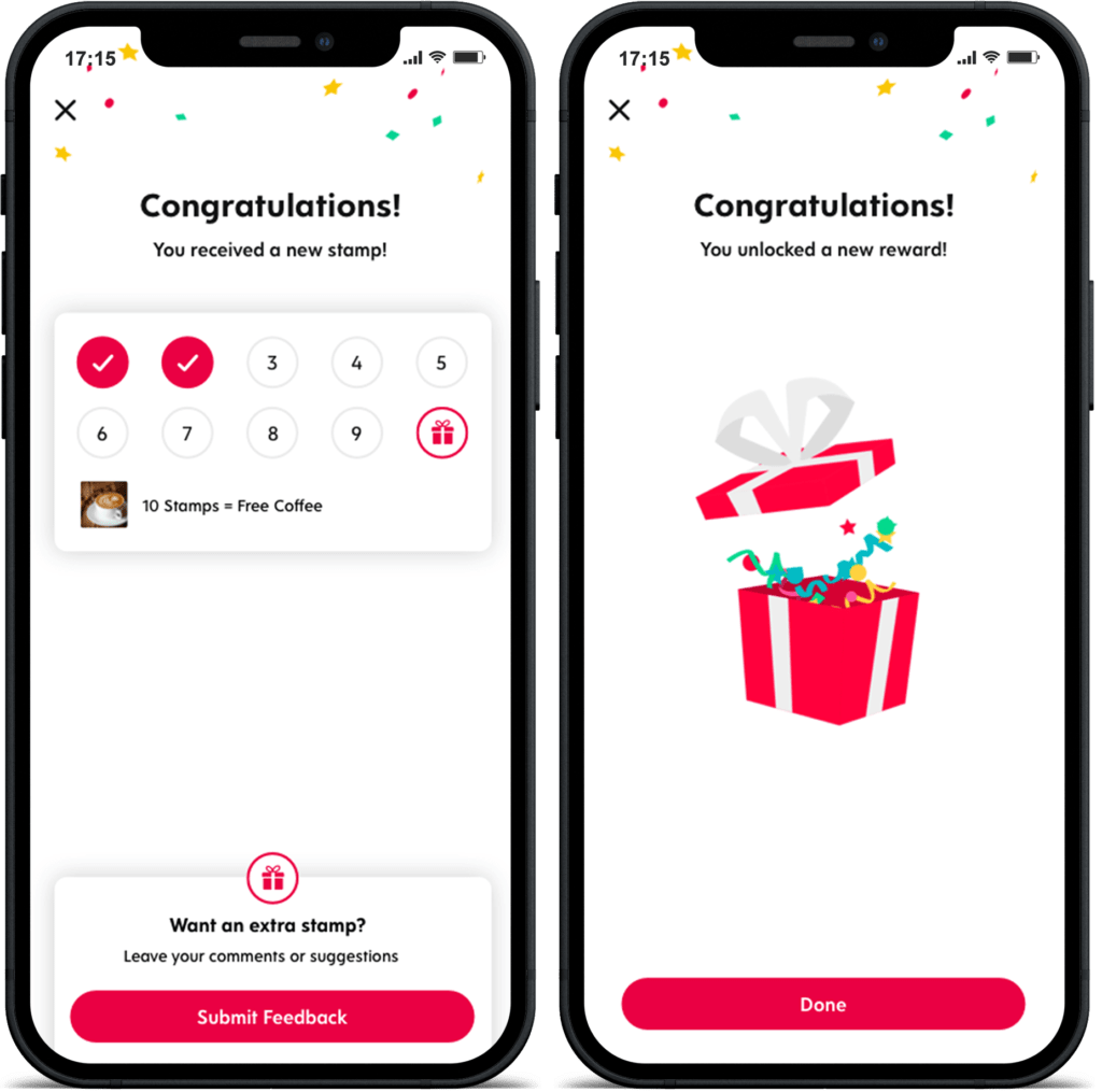 Two Screenshots of Flex Rewards App Displaying Award of Stamps and Rewards