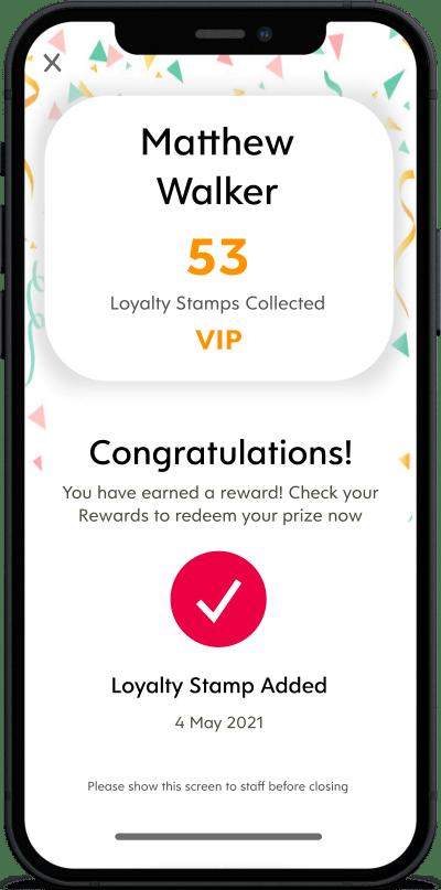 add loyalty stamp success screen