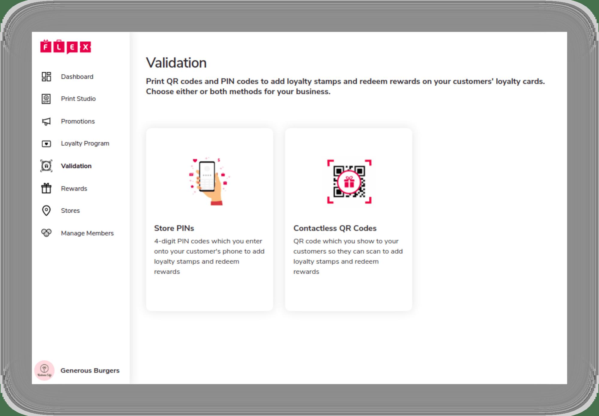 Screenshot of Merchant Portal Validation Methods