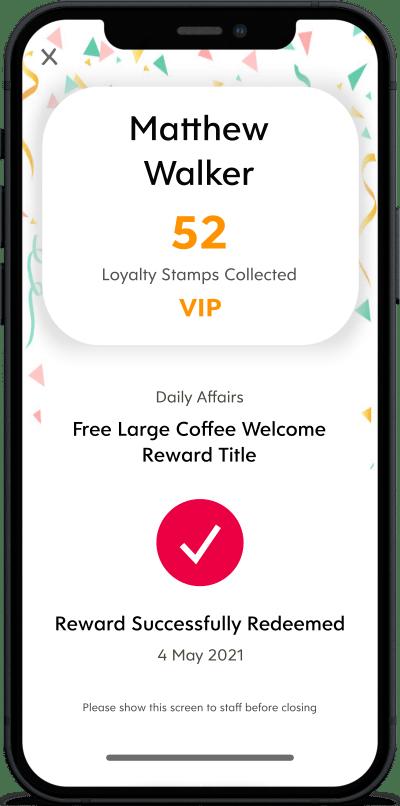 Success Screen for Reward Redemption