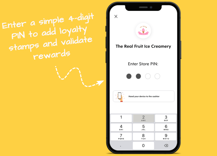 Flex Rewards Infographic Showing Adding Loyalty Stamps and Validating Rewards with 4-Digit PIN Code