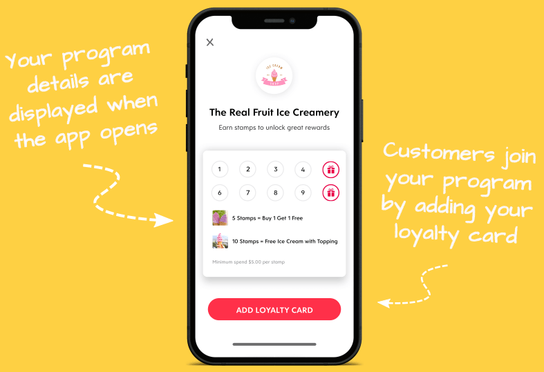 Flex Rewards Digital Loyalty Card Infographic Showing How to Add Loyalty Card