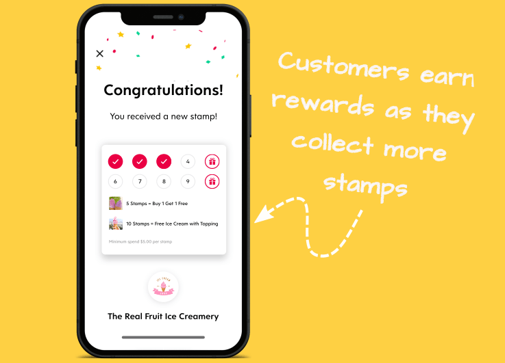 Flex Rewards Digital Loyalty Stamp Card Infographic Showing Add Stamp Success Screen on Iphone
