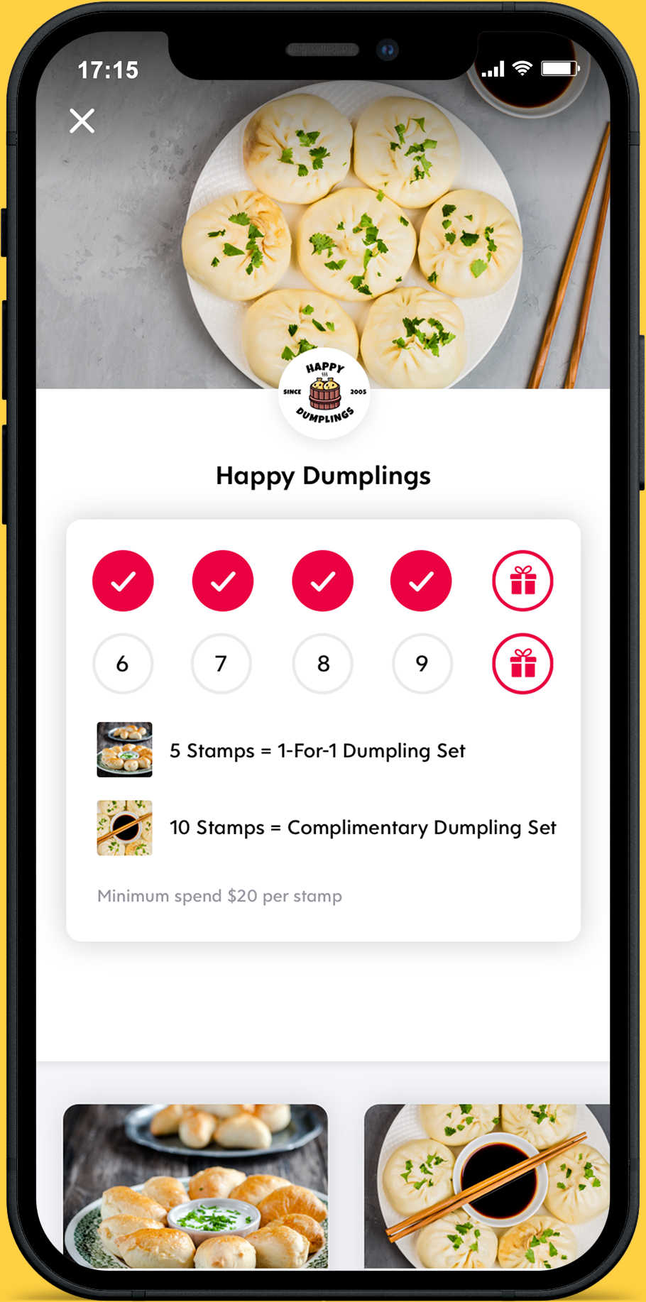Screenshot of Flex Rewards Loyalty Stamp Card for Happy Dumplings Chinese Restaurant