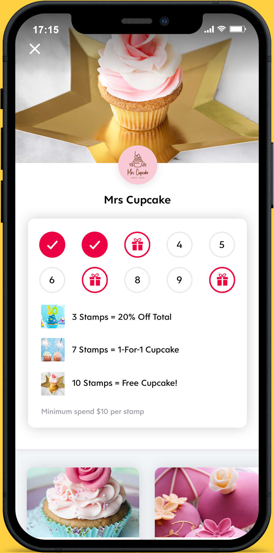 Flex Rewards Loyalty Card Screenshot in an Iphone Frame with Yellow Background