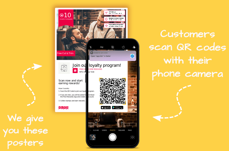 Flex Rewards Digital Loyalty Card Infographic Scanning QR Code with Phone Camera