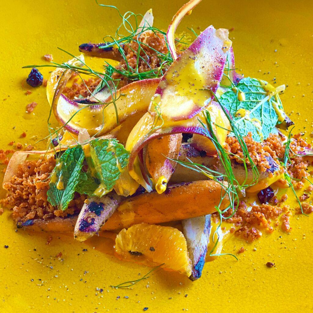 floral arranged seafood starter dish