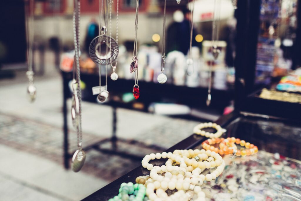 pendants and necklaces displayed in a jewellery counter