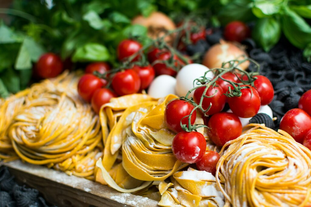 raw italian pasta with cherry tomatoes al fresco