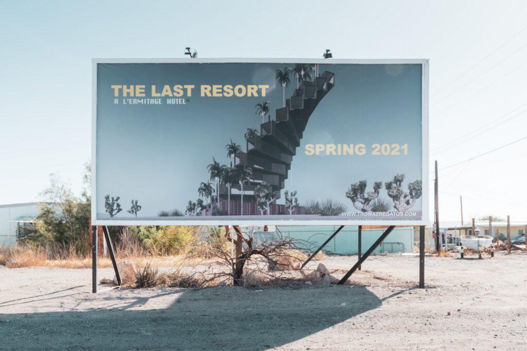 Highway Billboard with Text Last Resort