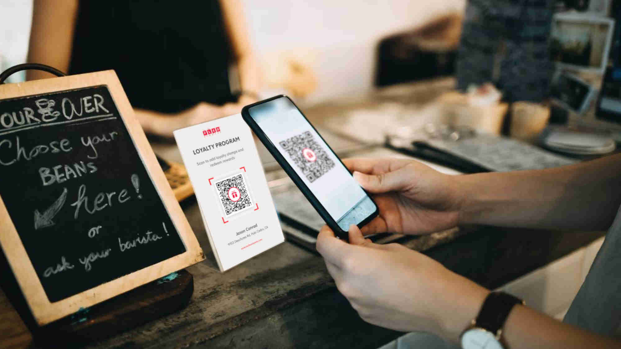 Flex Rewards Counter Display of QR Code to Join Loyalty Program and Add Stamp
