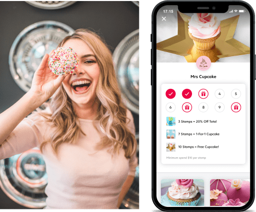 Young Woman Holding Cupcake Covering Face Next to Screenshot of Flex Rewards Digital Loyalty Card for Mrs Cupcake