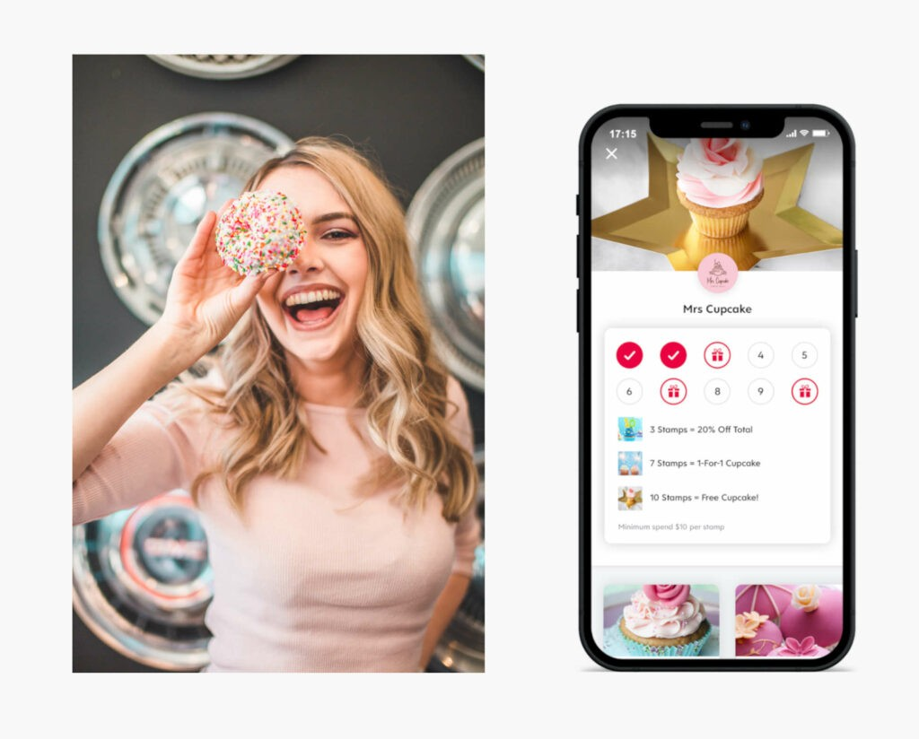 screenshot of the Flex Rewards app with young girl holding cupcakes