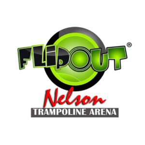 flip out nelson trampoline arena logo