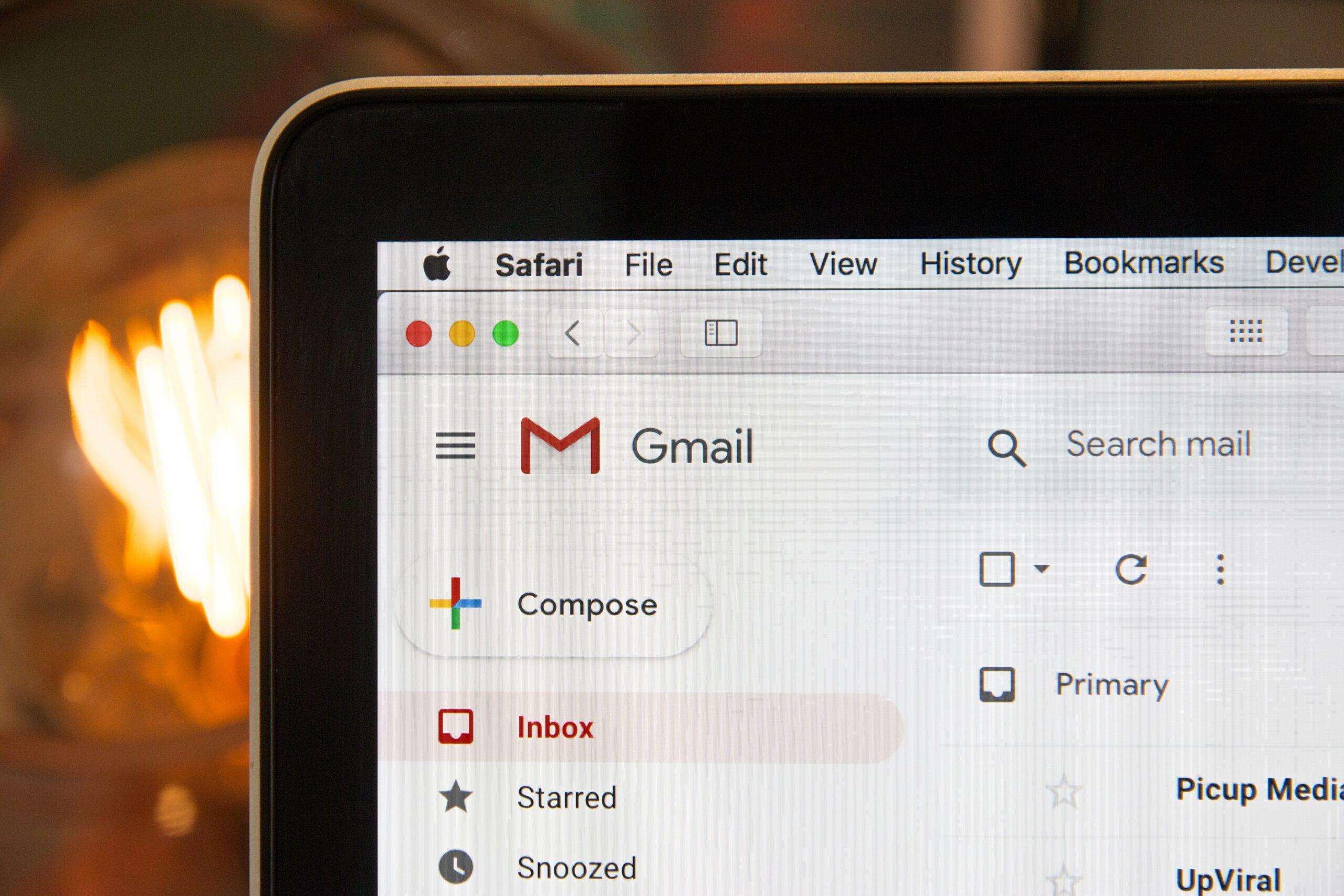mac screen with gmail displayed