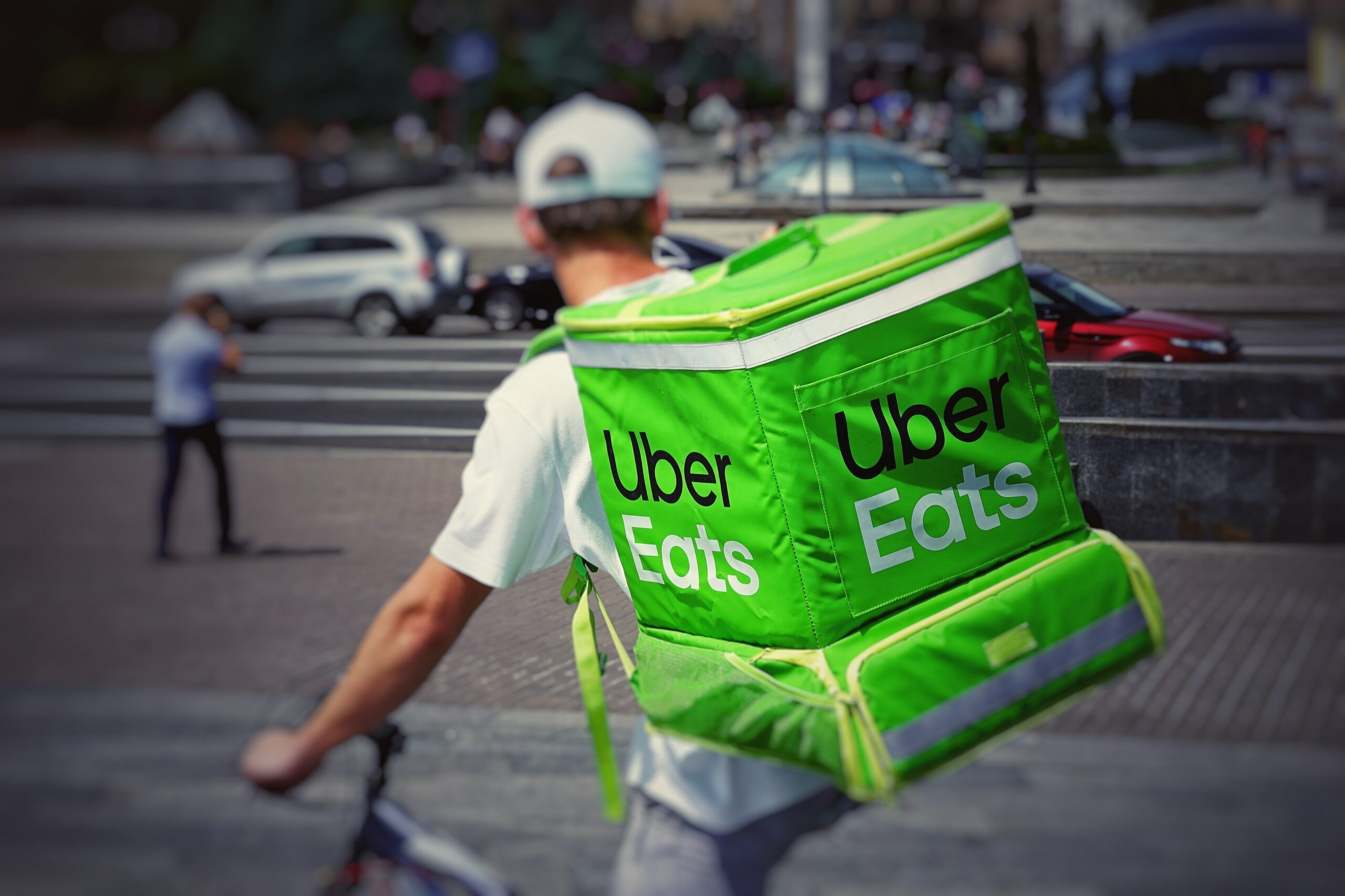 Uber Eats Delivery Courier on Bicycle