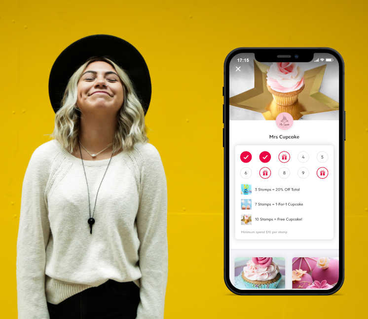 screenshot of flex rewards stamp card app against yellow background with young girl wearing black hat
