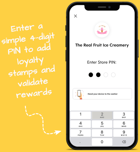 Flex Rewards Infographic on Adding Loyalty Stamps and Validating Rewards with 4-Digit PIN