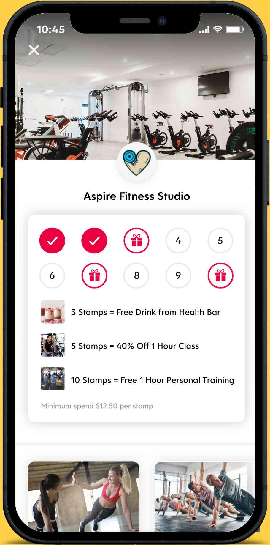 Flex Rewards Screenshot of Digital Loyalty Program for Aspire Fitness Studio