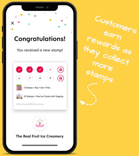Flex Rewards Infographic Success Screen After Adding Stamp to Digital Loyalty Card
