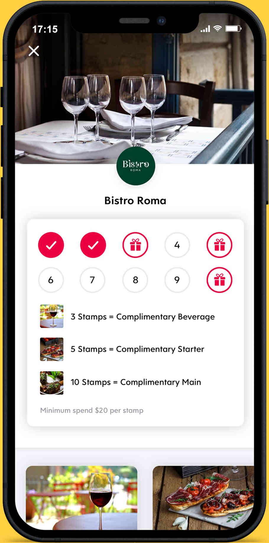 Screenshot of Flex Rewards Digital Loyalty Card for Bistro Roma