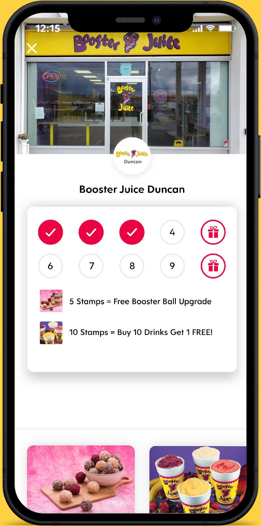 Booster Juice Duncan Flex Rewards Digital Loyalty Card Screenshot on Iphone
