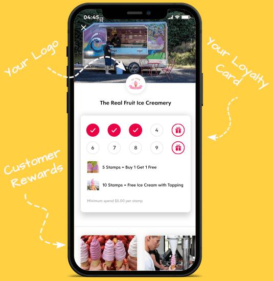Flex Rewards Infographic of How Digital Loyalty Card Works Screenshot of Ice Creamery