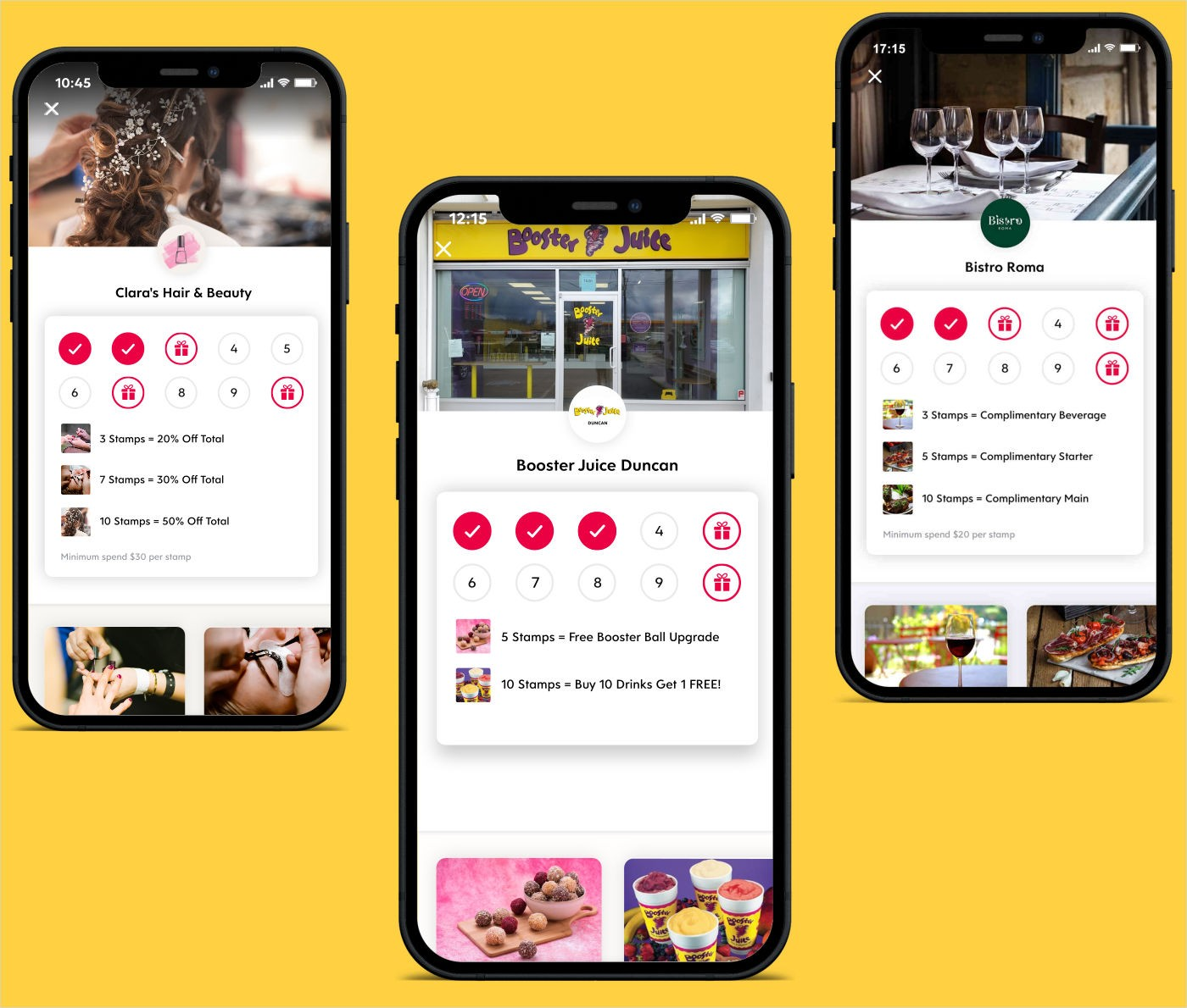 Flex Rewards Digital Loyalty Cards for Nail Salon Juice Bar and Italian Restaurant