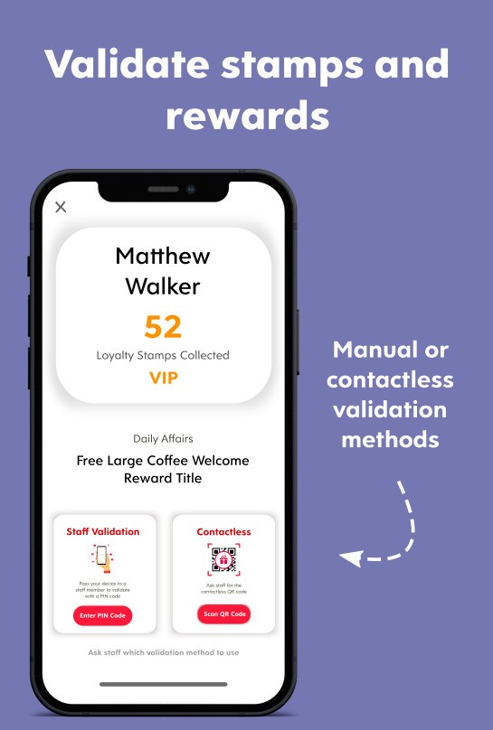 Infographic of Flex Rewards Stamp and Reward Validation Methods
