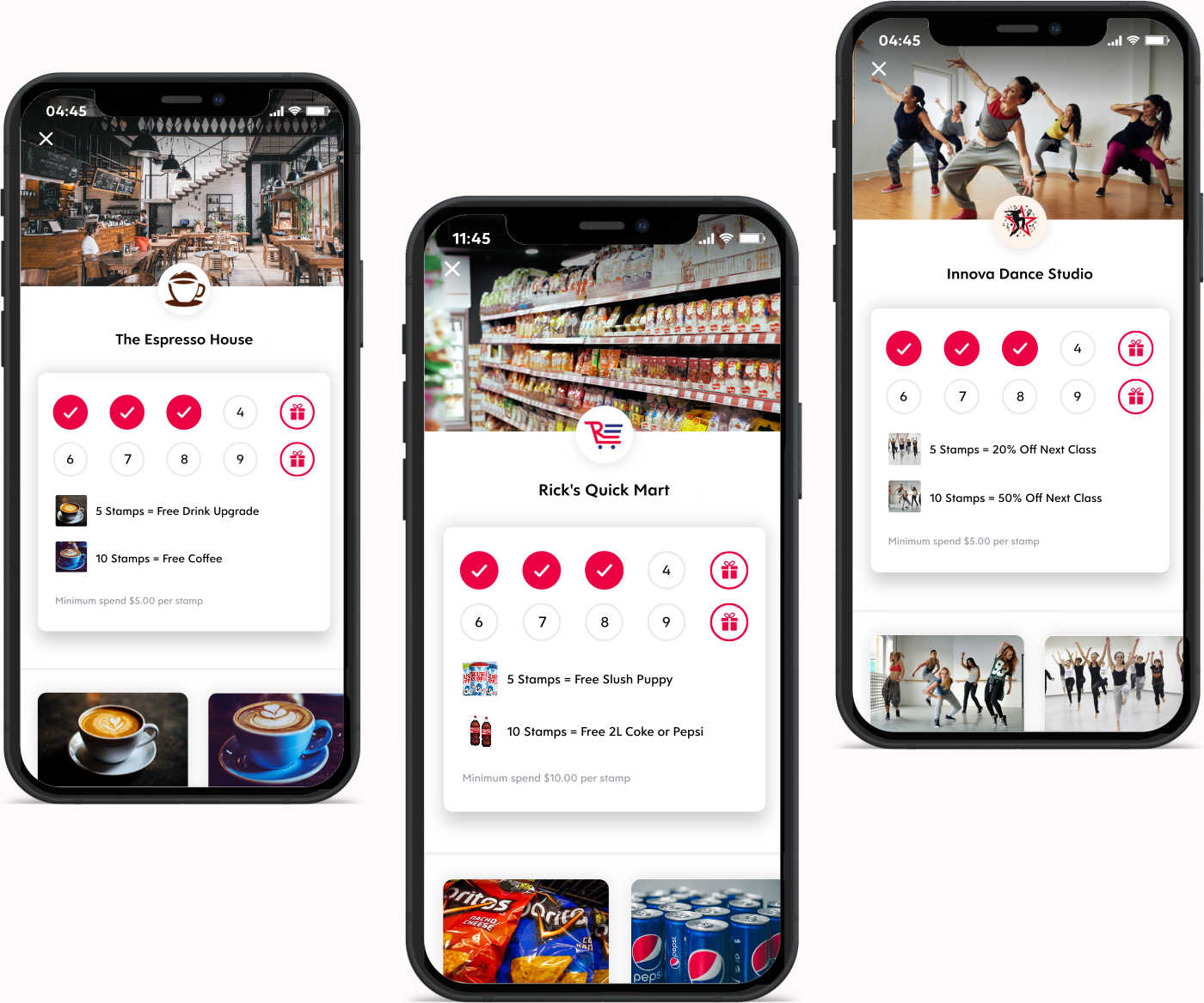 Screenshots of Flex Rewards Digital Loyalty Cards for Coffee Shop Convenience Store and Dance Studio