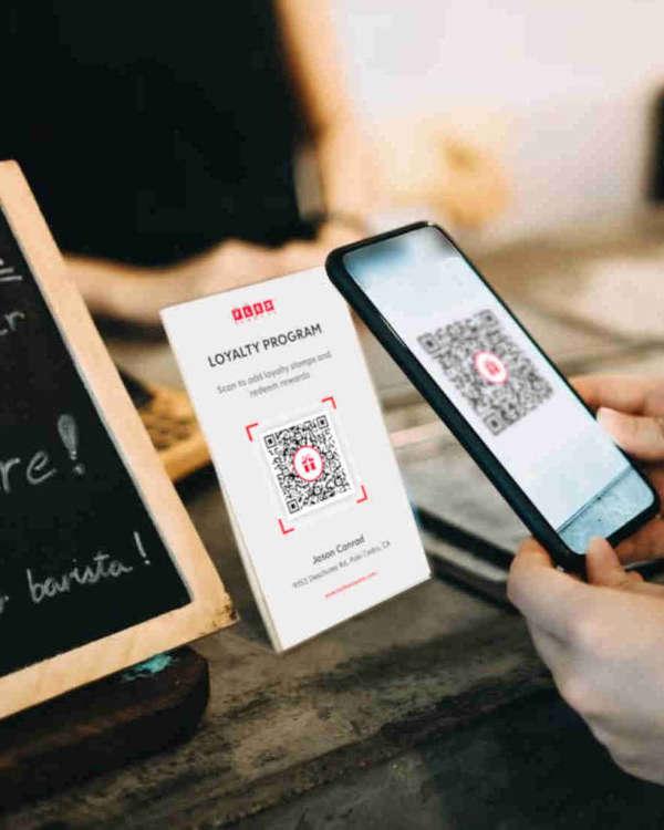 Iphone Scanning Flex Rewards QR Code to Add Loyalty Stamp