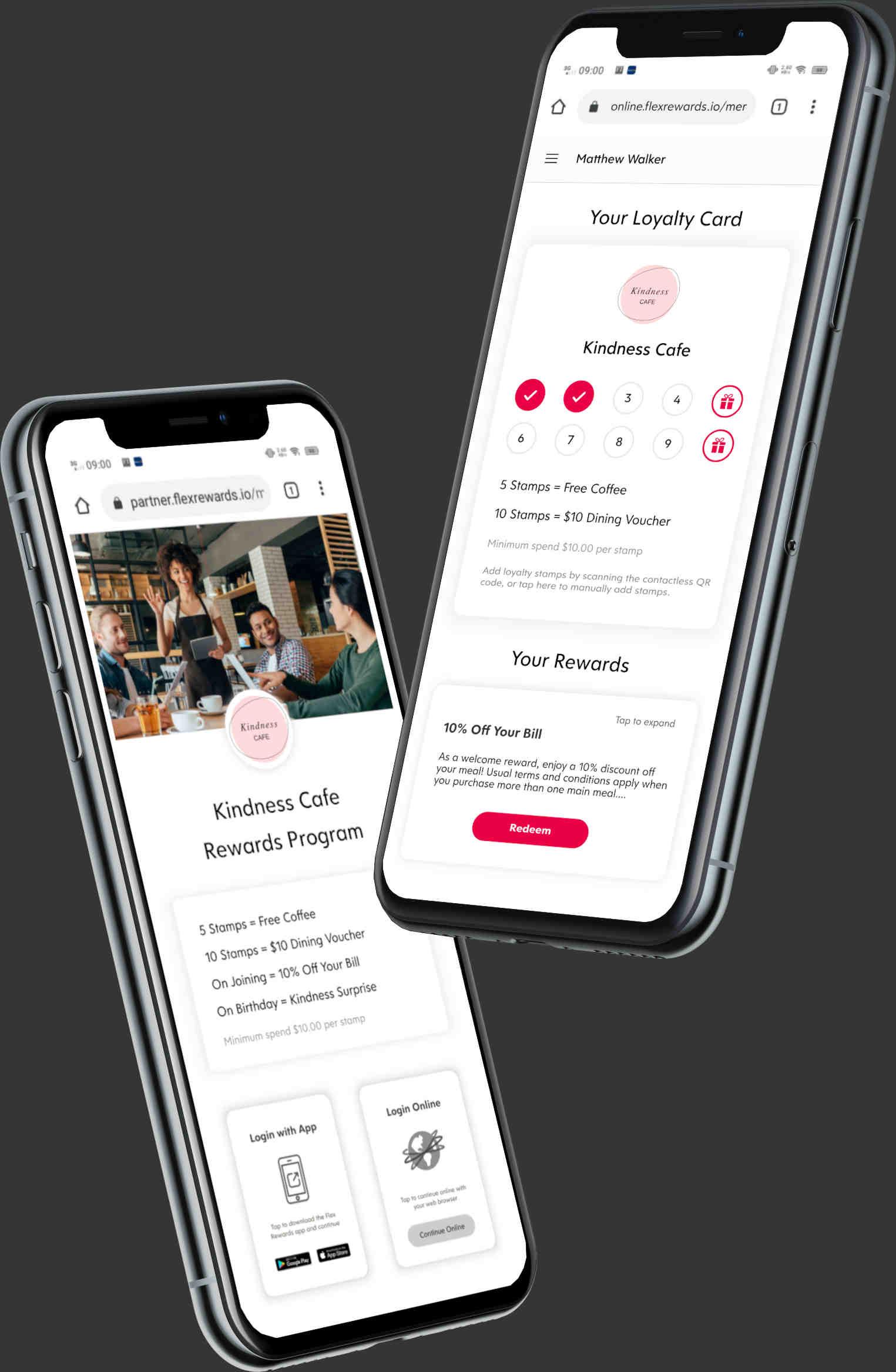 Screenshots of Flex Rewards Web App Loyalty Program
