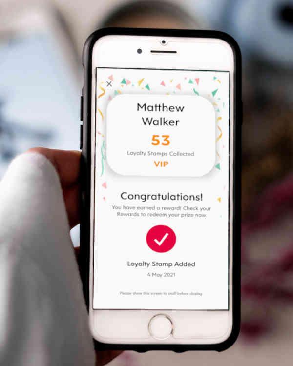 Screenshot of Flex Rewards App Success Page Showing Customer Receiving Loyalty Stamp and Prize Reward