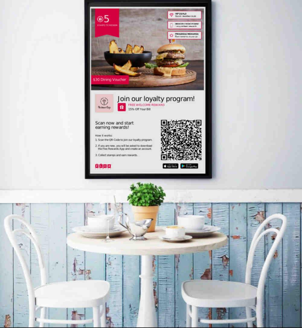 Flex Rewards Poster Advertising Loyalty Program for Kindness Cafe