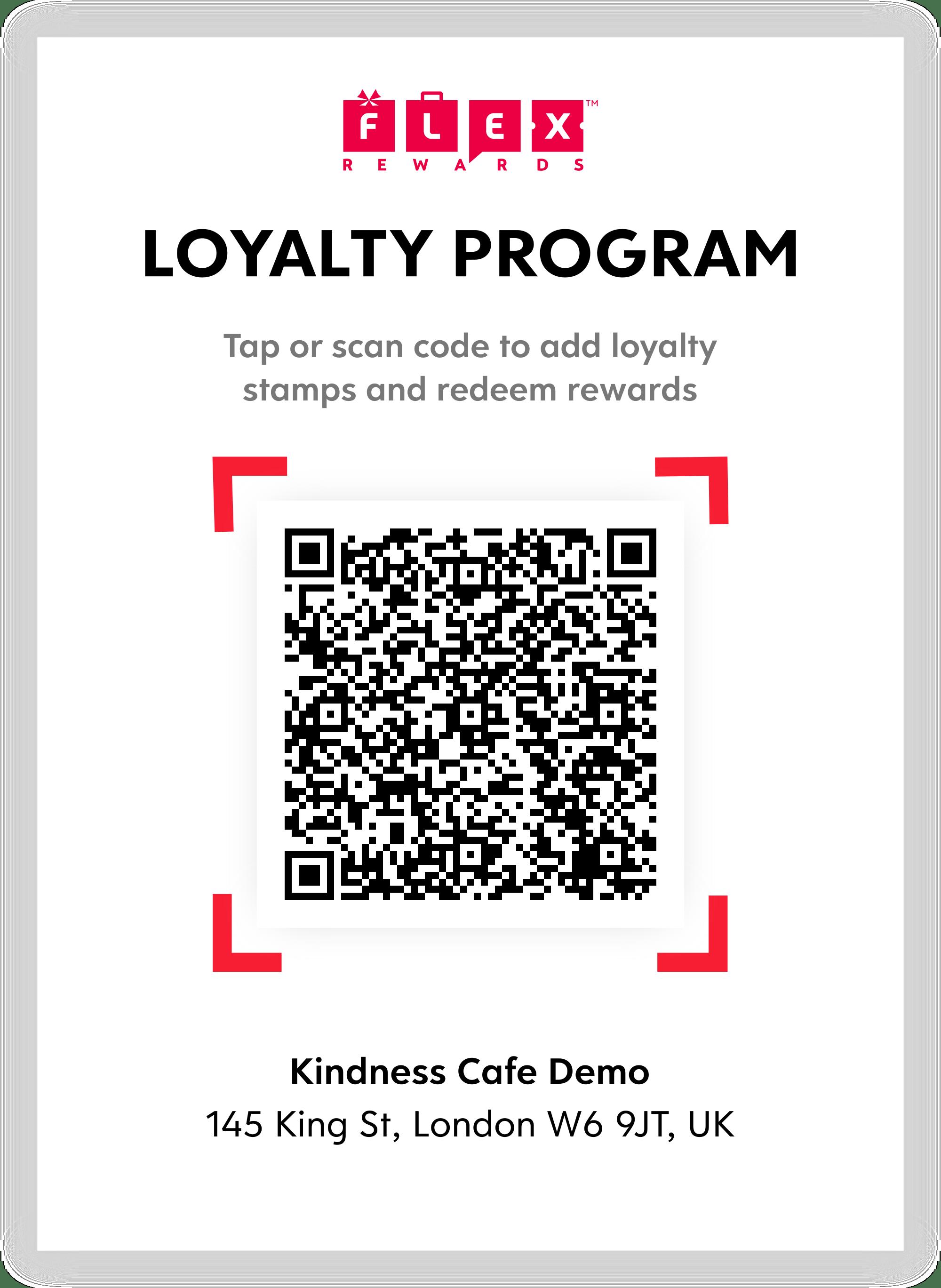 Flex Rewards Contactless QR Code