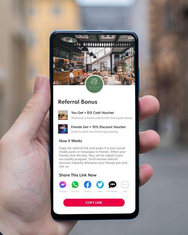 Screenshot of Flex Rewards Customer Referral Feature